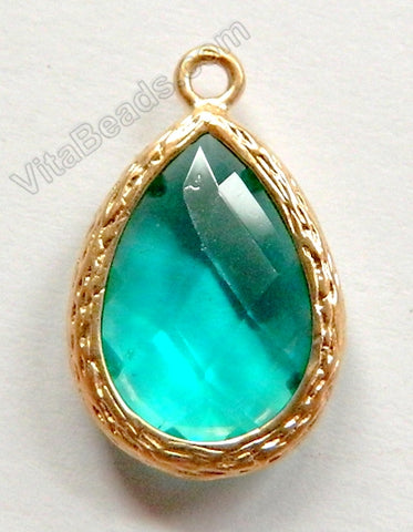 Faceted Teardrop Pendant Gold Zinc Alloy Emerald Crystal