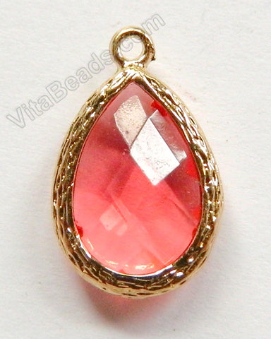 Faceted Teardrop Pendant Zinc Alloy Tomato Crystal