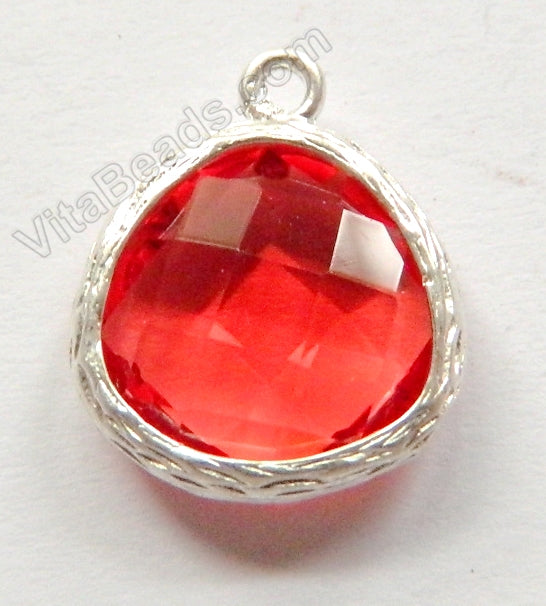 Faceted Heart Pendant Zinc Alloy Tomato Crystal