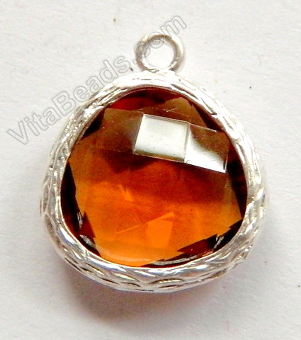 Faceted Heart Pendant Zinc Alloy Amber Crystal