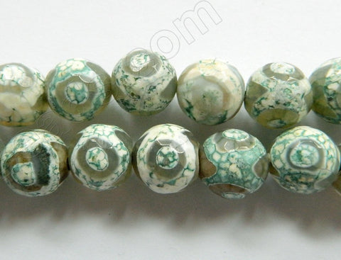 DZi Agate Light Green Eye  -  Faceted Round  15""