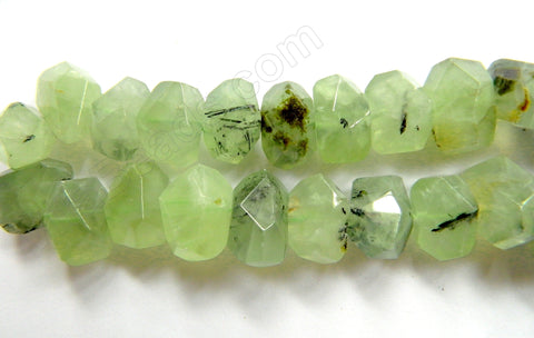 "Prehnite AA  -  Machine Cut Center Drilled Nuggets 16""    20 x 12 x 12 mm"