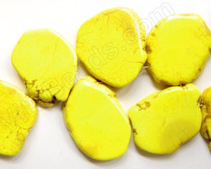 Bright Yellow Turquoise  -  Irregular Slabs Top Drilled 8""
