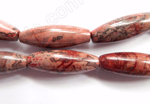 Pink Conglomarite Jasper  -  Smooth Long Rice  16""