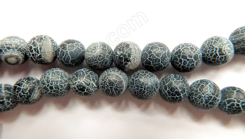 Frosted Black Cracked Fire Agate  -  Smooth Round  15""