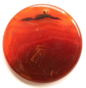 Smooth Pendant - Puff Coin Carnelian w Black