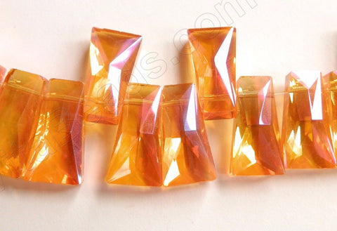 Mystic Orange Peach Crystal Quartz  -  Faceted Ladder Topdrilled 6.5""