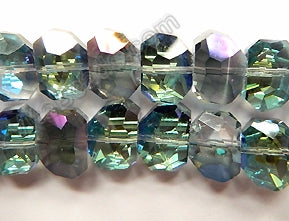 Mystic Dark Peacock Crystal  -  Faceted Irregular Flat Nugget  8""