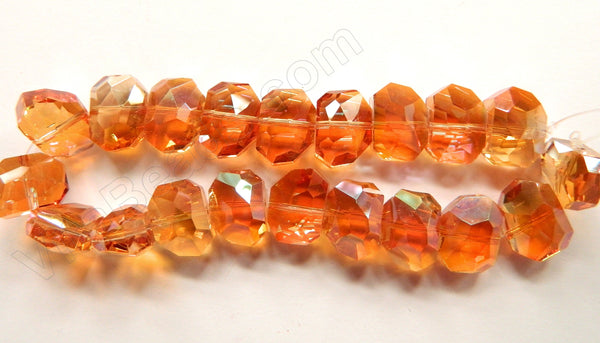 Mystic Dark Amber Crystal  -  Faceted Irregular Flat Nugget  8""