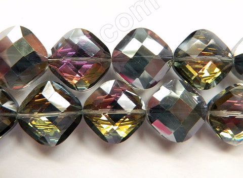 Mystic Yellow Purple Silver Crystal  -  Faceted Diamond 12""