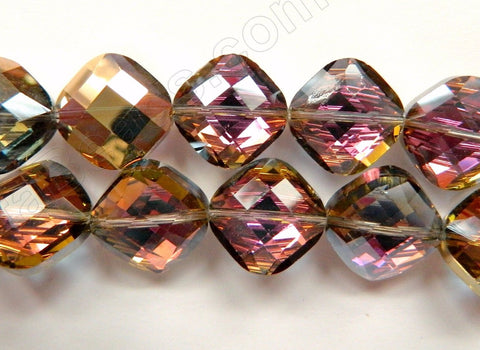 Mystic Purple Yellow Gold Crystal  -  Faceted Diamond 12""