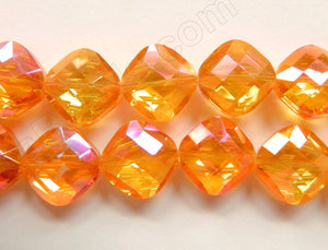 Mystic AB Orange Red Crystal  -  Faceted Diamond 12""