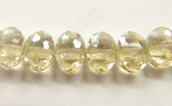 Light Champ. Crystal Qtz  -  Faceted Ovals Center Drilled 7""