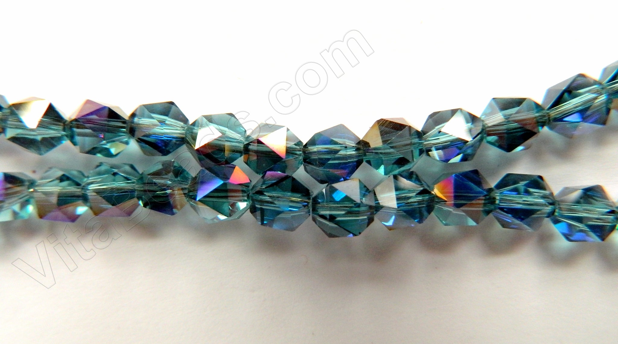 AB Coated London Blue Crystal Quartz  -  Rose Cut Faceted Round  11""