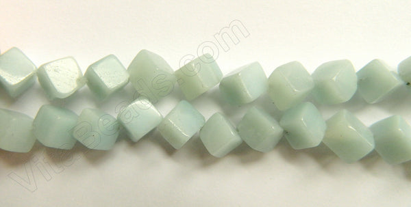 Amazonite -  Double Edge Di-drilled Cubes 16""