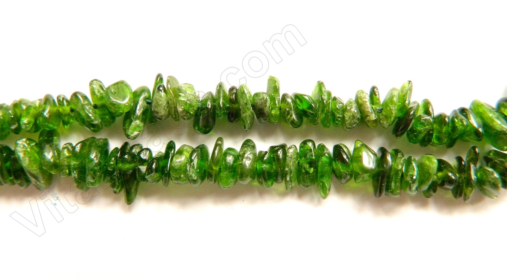"Green Diopside AA Natural  -  Chips Nuggets  16""    6 - 8 mm"