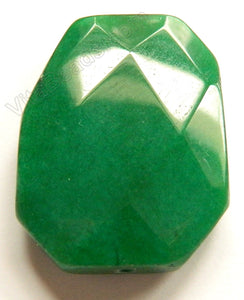 Faceted Pendant - Irregular Ladder Dark Green Jade 30x40mm