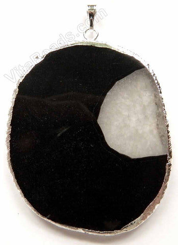 Black Fire Agate Slab Pendant w/ Silver Trim and Bail - 09