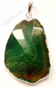 Faceted Irregular Pendant - Dark Green Fire Agate w/ Silver Trim and Bail