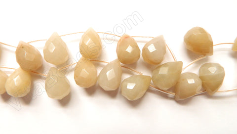 Natural Color Warm Agate - 13x18mm Faceted Teardrop 16""