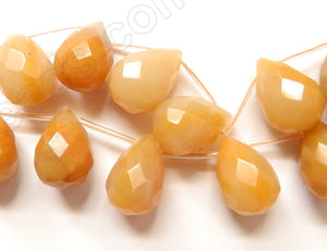 Multi Light Yellow Agate - 13x18mm Faceted Teardrop 16""