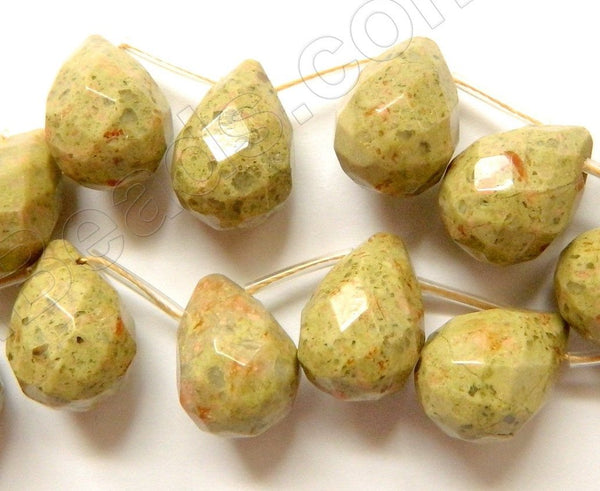 New Chinese Unakite Green - 13x18mm Faceted Teardrop 16""