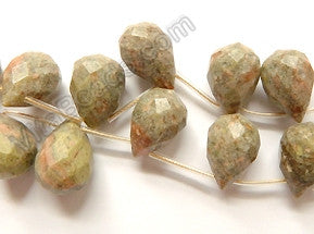 New Pink Jasper Grey - 13x18mm Faceted Teardrop 16""