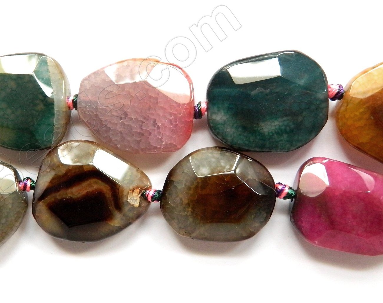 Mixed Tourmaline Fire Agate  -  Irregular Faceted Slabs  16""