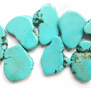 Blue Cracked Turquoise  -  Irregular Slabs Top Drilled 10""