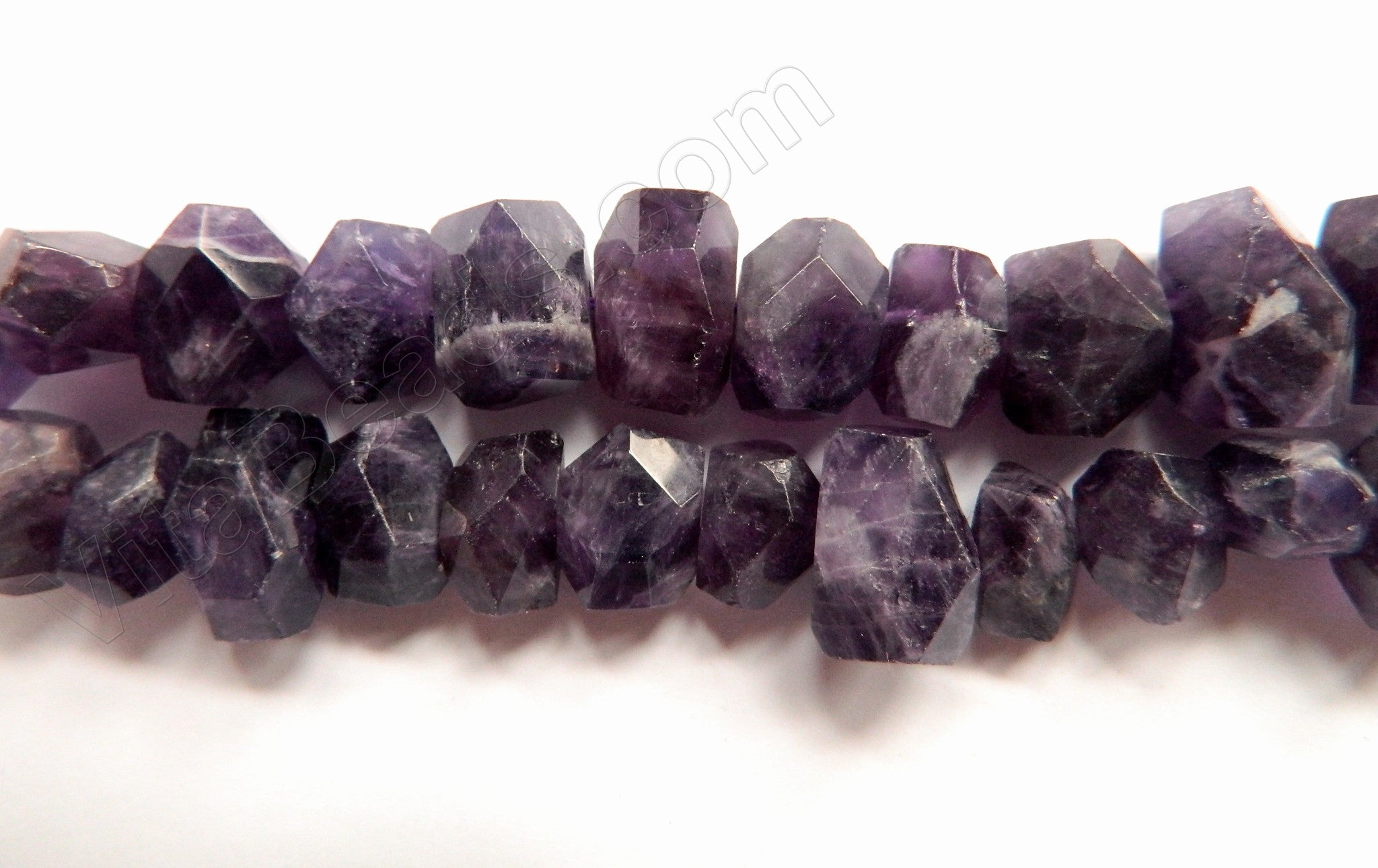"Amethyst Dark A  -  Center Cut Faceted Tumble  16""     12 - 16 mm"