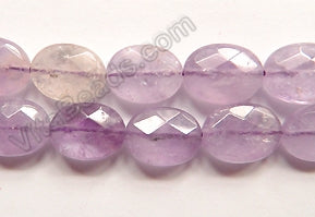 Amethyst Light Quartz A  -  Faceted Oval  16""