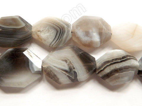 Grey Botswana  Agate A  -  Graduated Irregular Faceted Flat  16""