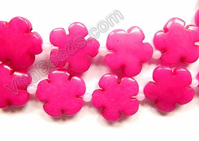 Dark Fuchsia Jade  -  Carved 5 Petal Flower Strand  16""