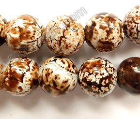 Coffee Fire Agate Light  -  Big Smooth Round Beads  15""