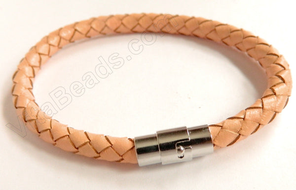 Bracelet - Pandora Woven Leather Cord - Magnetic Clasps Black  - 6 mm Bracelet 7""