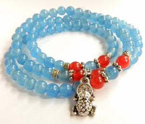 Smooth Round Beads Bracelet - Light Blue w/ Red Length:  22""