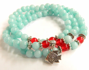 Smooth Round Jade Bracelet - Amazonite Jade w/ Red Length:  22""