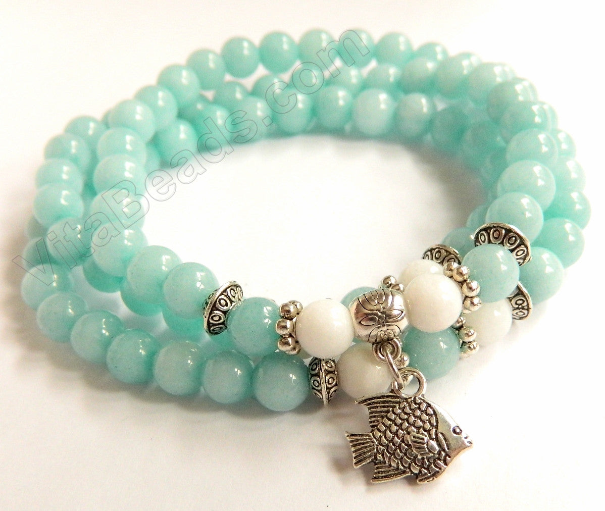 Smooth Round Jade Bracelet - Amazonite Jade w/ White Length:  22""