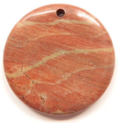 Smooth Round Pendant - Silver Leaf Jasper - Dark