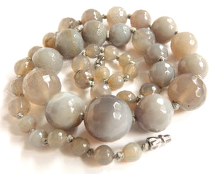 Grey Agate    Graduated Faceted Round Necklace 22""