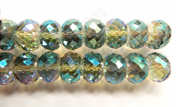 Light Green Peacock AB Crystal  -  16x10mm Big Faceted Drum 8""