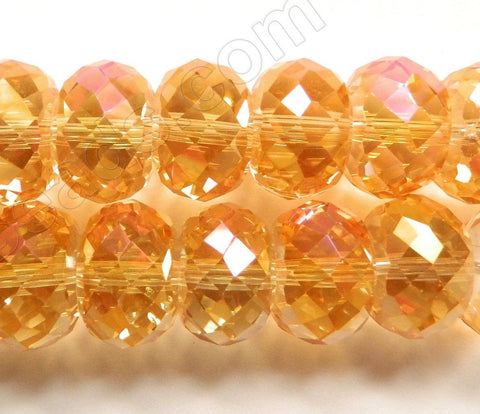 Yellow Peach AB Crystal  -  16x10mm Big Faceted Drum 8""