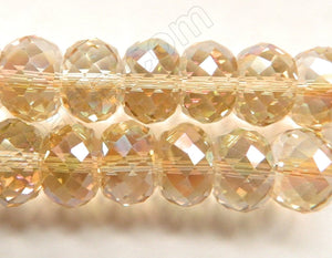 Light Champ. AB Crystal  -  16x10mm Big Faceted Drum 8""