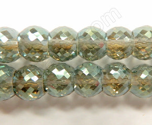 Green Grey AB Crystal  -  11x9mm Faceted Drum 7""
