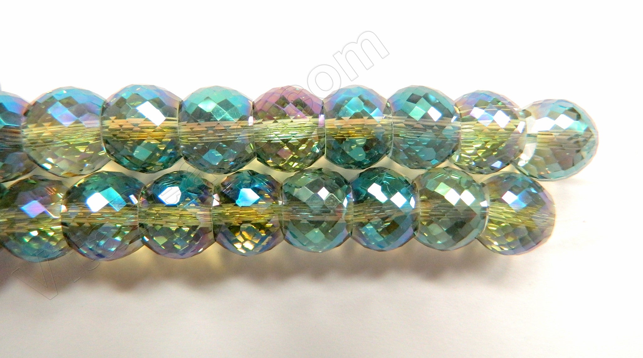 Light Green Peacock AB Crystal  -  11x9mm Faceted Drum 7""