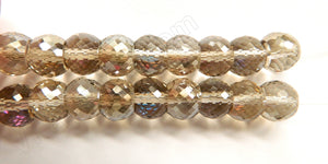 Smoky AB Crystal  -  11x9mm Faceted Drum 7""