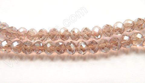 "Light Lavender Crystal AB Coated -  Faceted Rondel   16""     8 x 5 mm"