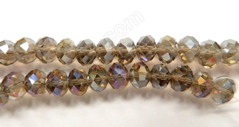 "Smoky Crystal Quartz AB Coated   -  Big Faceted Rondel  16""     10 x 8 mm"