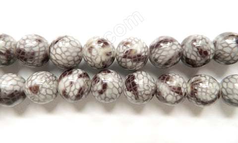 Grey Snake Skin Shell Beads -  Big Smooth Round 16""