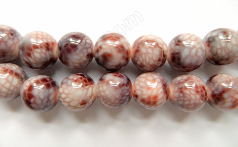 Pink Snake Skin Shell Beads -  Big Smooth Round 16""